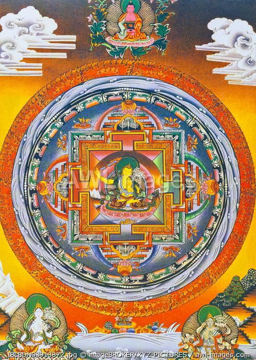 Manjushree Mandala, the central figure represents the god of wisdom Manjushree, the legendary creator of the Kathmandu valley, Nepal, Asia