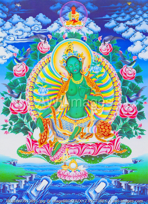 The green Tara, the maternal protector from all dangers in the ocean of existence, Nepal, Asia