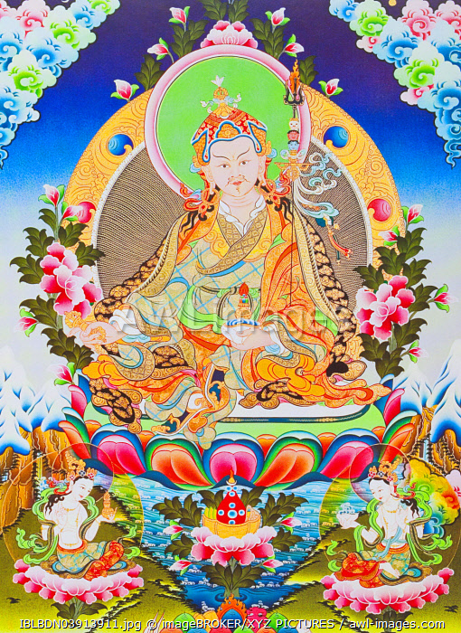 Padmasambhava or guru Rimpoche, the deified apostle of Tibetan Tantricism who is said to have control over demons and spirits, Nepal, Asia