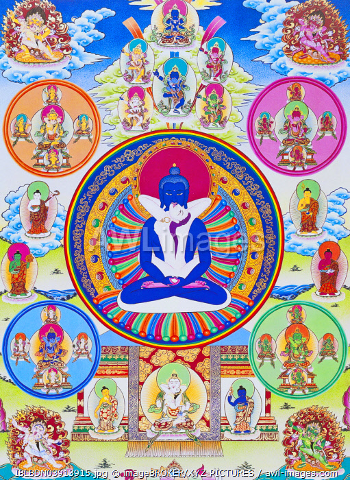 Samantabhadra, together with his consort, symbolising unity with the absolute, Nepal, Asia