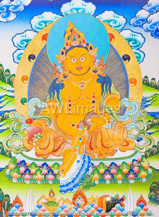 The yellow Dzambhala, the manifestation of the Buddha Ratnasambhava symbolising wealth in the materialistic world, Nepal, Asia