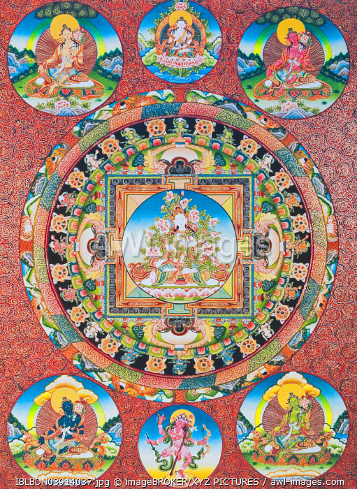 White Tara Mandala, the seven eyed female deity of the Buddhist Pantheon representing the goddess of compassion and the protector of human beings, from Nepal