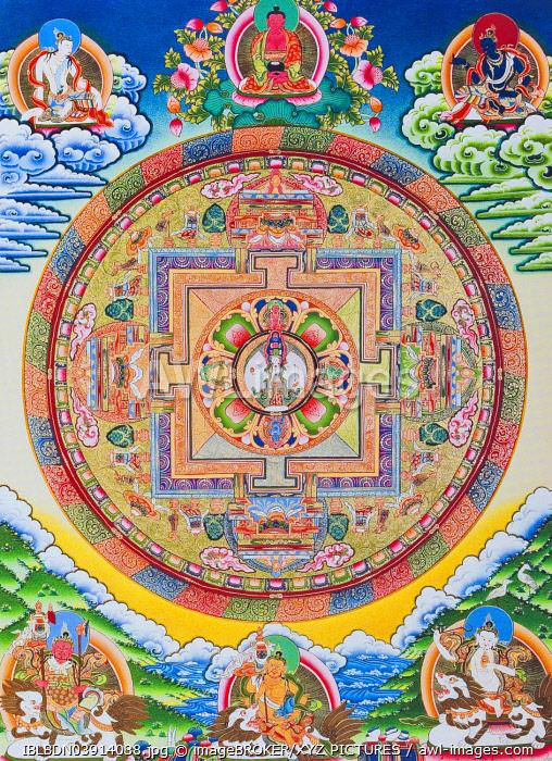 Mandala with one thousand arms, Avalokiteshvara, the sacred, magical circle depicting the eleven headed Bodhisattva symbolising infinite compassion, from Nepal