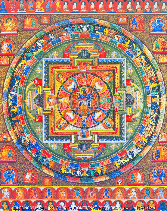 Chakrasambhara Mandala, depicting the main deity Sambhara embracing his consort Vajrabarahi symbolising the union of wisdom and practice to attain supreme bliss, Nepal, Asia