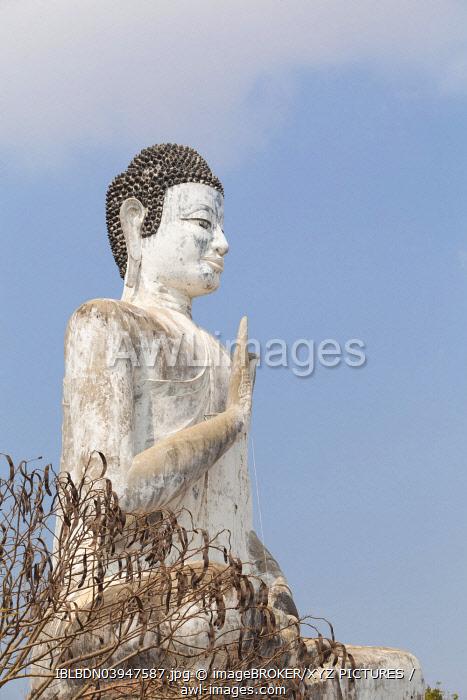 Giant Buddha statue at Wat Ek Phnom temple, near Battambang, Cambodia, Asia