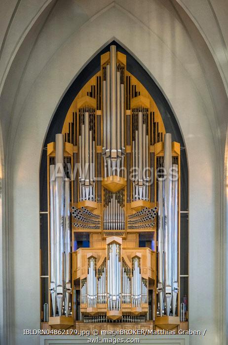 Hallgrímskirkja church organ, organ builder Johannes Klais, Reykjavík, capital region, Iceland, Europe