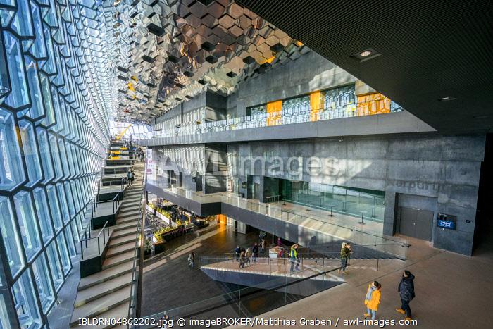 "Harpa congress centre and concert hall, architect Henning Larsen, facade by artist �""lafur Elíasson, interior view, Reykjavík, Höfuðborgarsvæðið region, Iceland, Europe"
