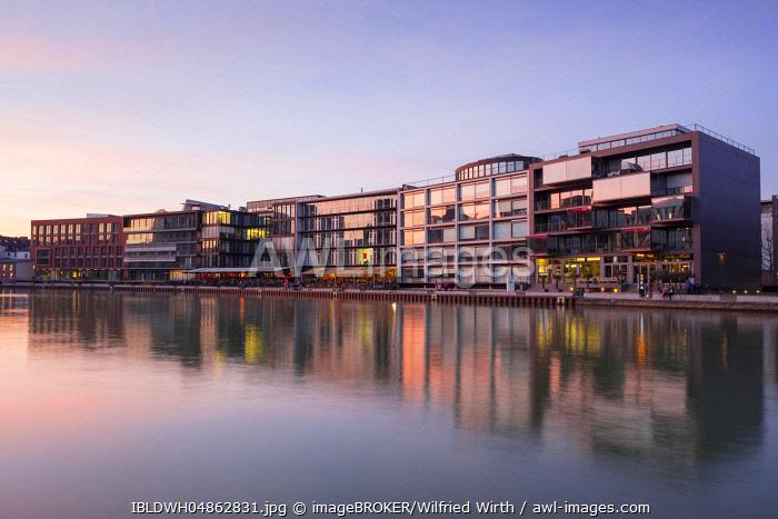 Kreativkai, City harbour, dusk, Münster, Münsterland, North Rhine-Westphalia, Germany, Europe