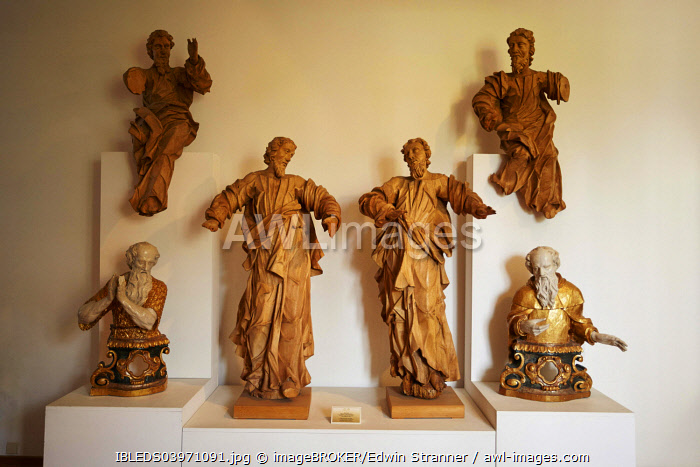 Wooden sculptures, Euphrasian Basilica, UNESCO World Heritage Site, Porec, Croatia, Europe