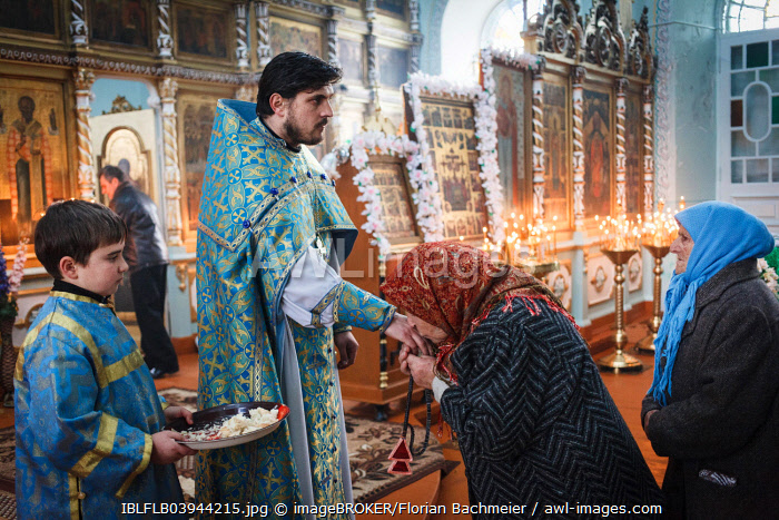 Morning mass during the Feast of Epiphany in the church of the Orthodox Old Believers, Vilkovo, Ukraine, Europe