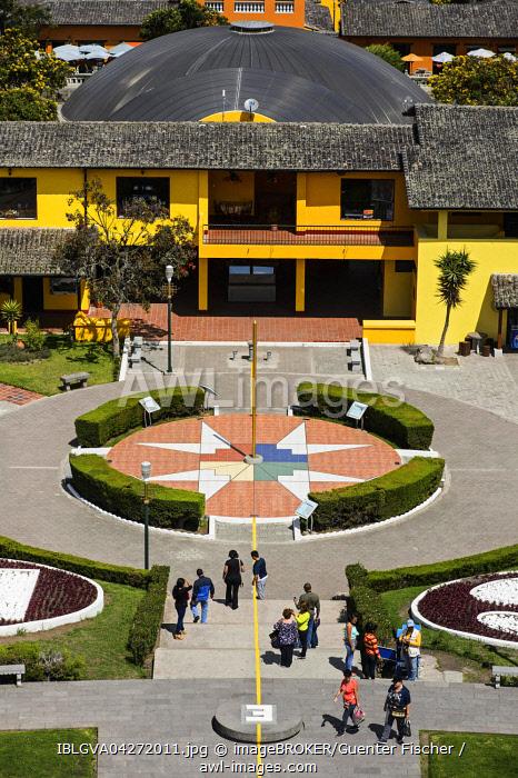 Yellow equator line and Chakana cross, Ciudad Mitad del Mundo, city of the center of the world, San Antonio de Pichincha, Pichincha Province, Ecuador, South America