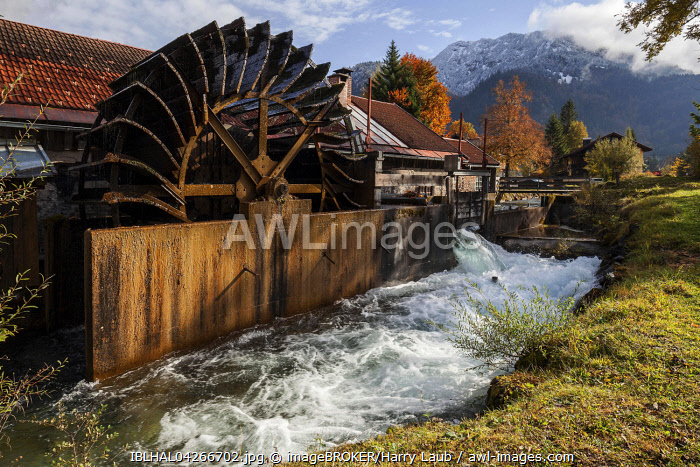 Historical hammer mill, water wheel in the Ostrich stream, Bad Oberdorf in Bad Hindelang, Allgau, Bavaria, Germany, Europe