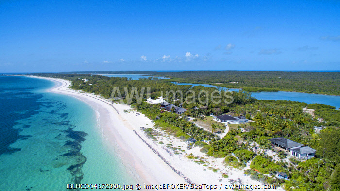 Aerial view, long sandy beach in the south of Eleuthera, Bahamas, Central America