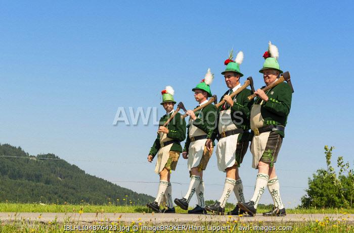 Mountain Riflemen, Corpus Christi Procession, Wackersberg, Isarwinkel, Tolzer Land, Upper Bavaria, Bavaria, Germany