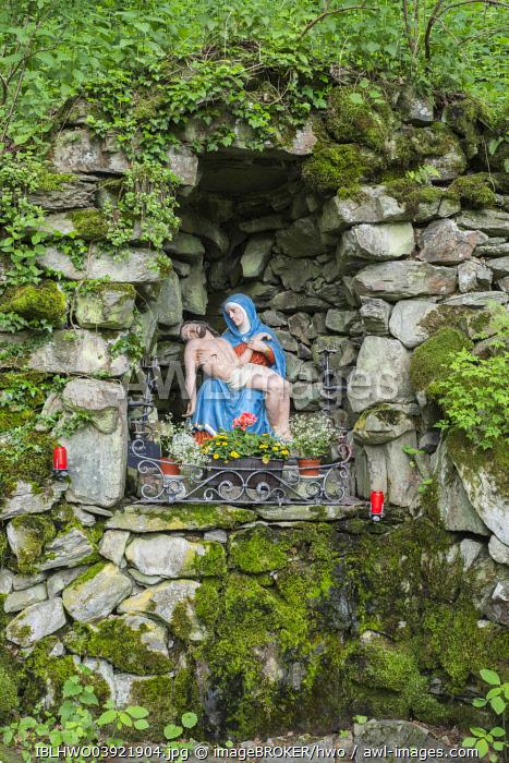 Wayside shrine between basalt blocks, ascent to the Milseburg, Danzwiesen, Hofbieber, Hesse, Germany, Europe