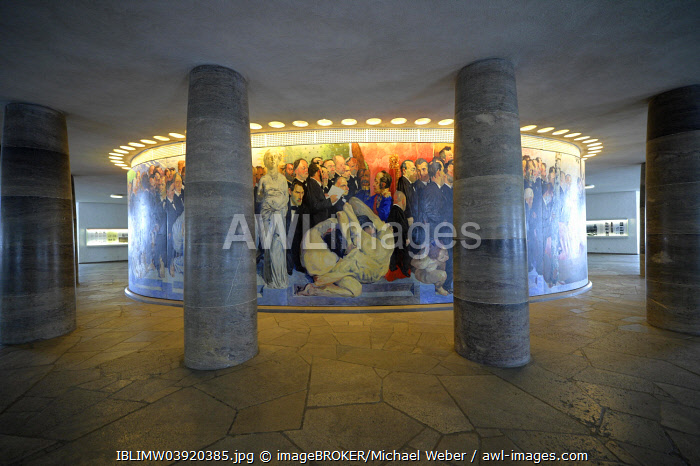 "Detail of the mural ""The Path of the Representatives to St. Paul's Church"" by the Berlin painter Johannes Grutzke, 1991, on the inside of the oval ambulatory in St. Paul's Church, Frankfurt am Main, Hesse, Germany, Europe"