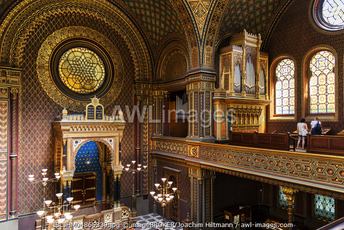 Interior, Spanish Synagogue, Josefstadt, Jewish Quarter, Prague, Bohemia, Czech Republic, Europe