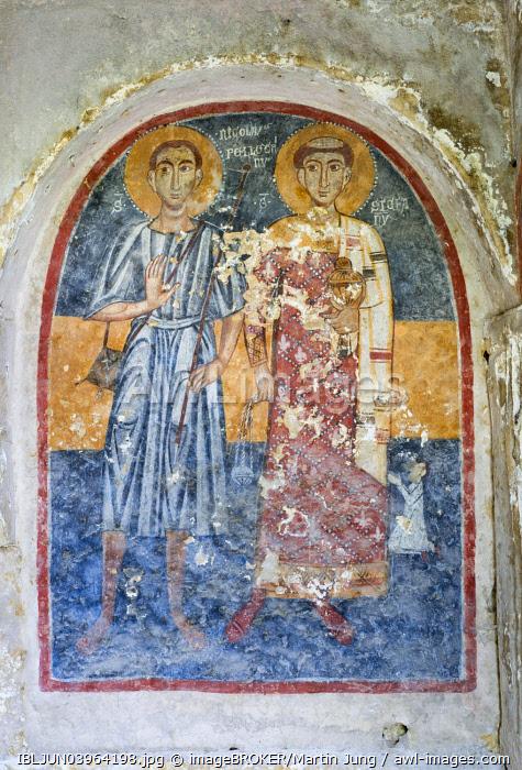 La Candelora, Adoration of two saints, fresco 13th-14th century, rock church, cave church, Chiese Rupestri, La Candelora, Gravina San Marco, Cave City, Massafra, Murgia Tarantine, Taranto, Apulia, Italy, Europe