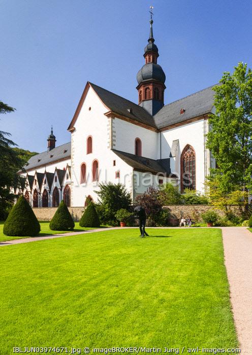 Baroque orangery, Abbey garden, abbey church, Cistercian Eberbach Abbey, Eltville am Rhein, Rheingau, Hesse, Germany, Europe