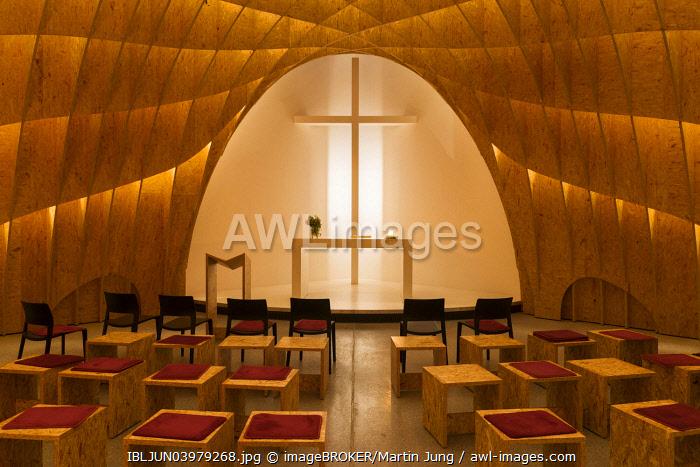 Interior, Siegerland Motorway Church at the A45 motorway, by architects Schneider and Schumacher, Wilnsdorf, North Rhine-Westphalia, Germany, Europe