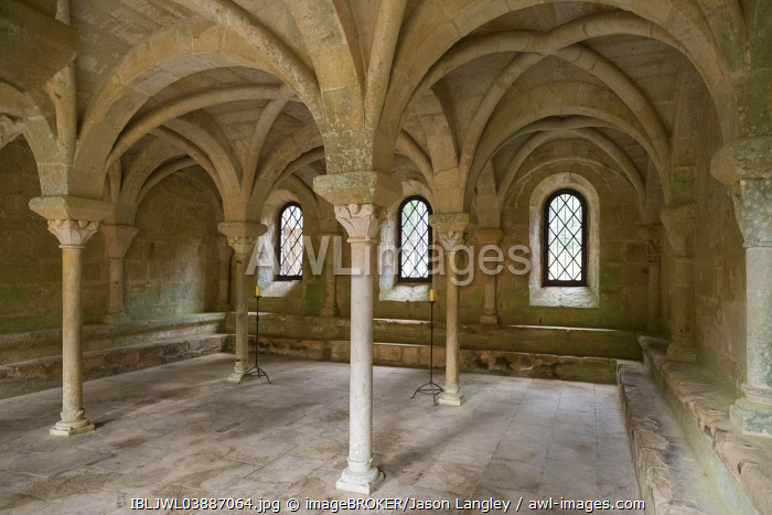The Salle Capitulaire or Chapter Hall at Abbaye de Fontfroide, Aude Department, Languedoc-Roussillon, France, Europe