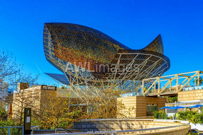Sculpture golden fish, Peix, by architect Frank Gehry, beach promenade La Barceloneta, Barcelona, Catalonia, Spain, Europe