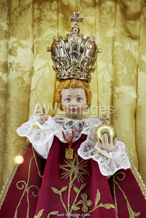 Baby Jesus with crown and orb, children's doll in a Sicilian Baroque church, Palermo, Sicily, Italy, Europe