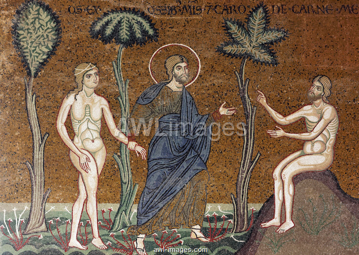 God introducing Eve to Adam in Paradise, Byzantine gold ground mosaics, Cathedral of Santa Maria Nuova, Monreale Cathedral, Monreale, Province of Palermo, Sicily, Italy, Europe