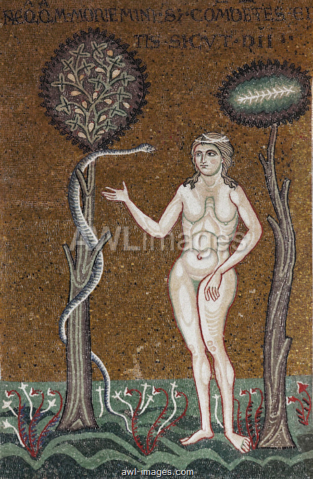 Eve in Paradise, being seduced by the serpent, Byzantine gold ground mosaics, Cathedral of Santa Maria Nuova, Monreale Cathedral, Monreale, Province of Palermo, Sicily, Italy