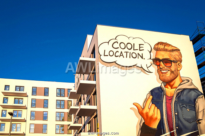 Advertising, wall painting on the new buildings of the Europa City in Heidestraße, Berlin, Germany, Europe