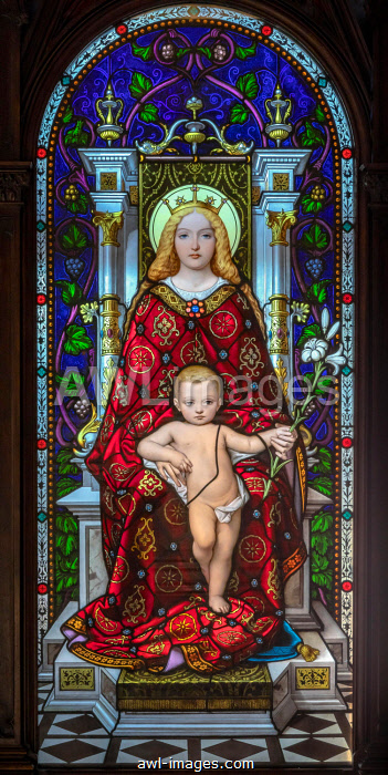 Madonna and Child, stained glass, Vatican Museum, Vatican State, Rome, Lazio, Italy, Europe