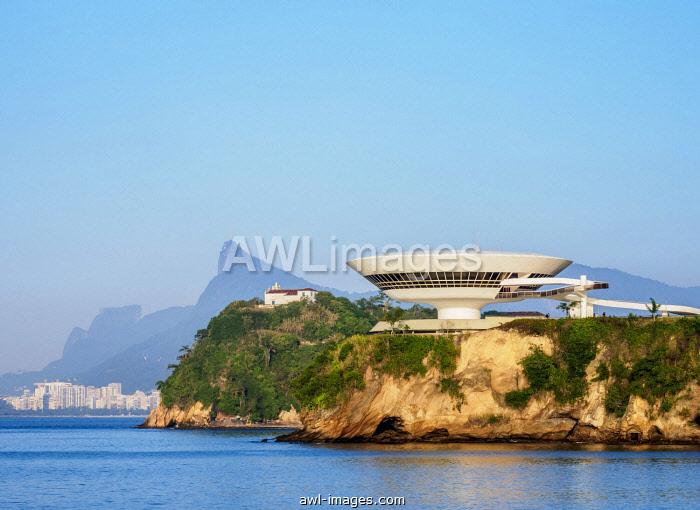 View towards Niteroi Contemporary Art Museum MAC, Boa Viagem Island, Corcovado Mountain and Pedra da Gavea, Niteroi, State of Rio de Janeiro, Brazil, South America