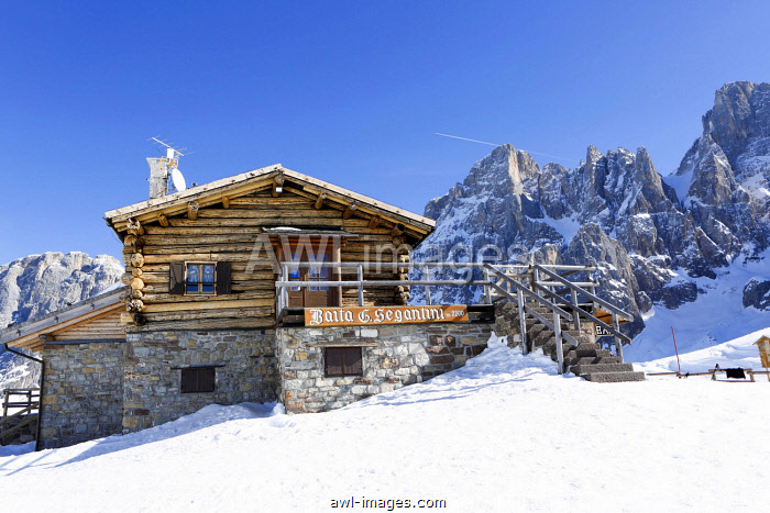 Mountain hut in the snow, ski area San Martino di Castrozza, Dolomites, Trentino, South Tyrol, Italy, Europe