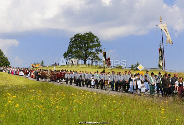 Corpus Christi procession, Torwang, Samerberg, Chiemgau, Upper Bavaria, Bavaria, Germany, Europe