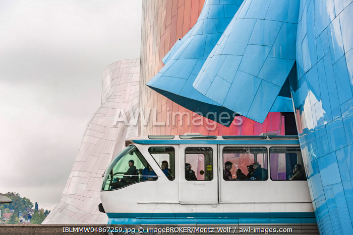 Monorail train runs through the Museum of Pop Culture, MoPOP, architect Frank Gehry, Seattle, Washington, USA, North America