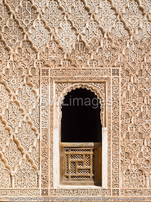 Ornate wall reliefs in the Ben Youssef Madrasa, Medina, Marrakech, Marrakech-Tensift-Al Haouz, Morocco, Africa