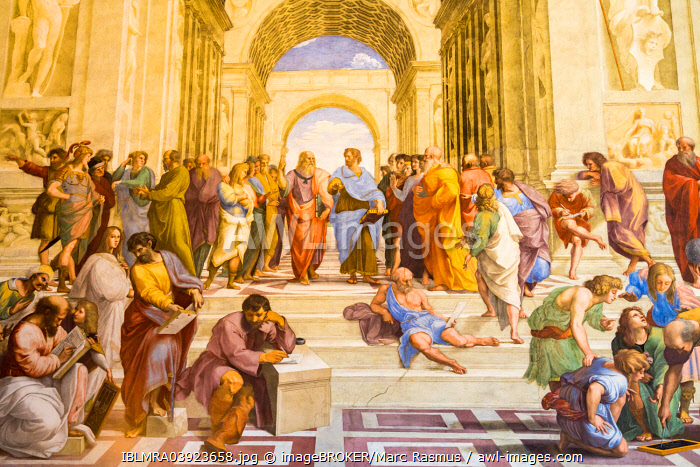 Stanze of Raphael or Raphael's Rooms, School of Athens, Stanza della Segnatura, Apostolic Palace, Vatican Museums, Vatican, Rome, Lazio, Italy, Europe