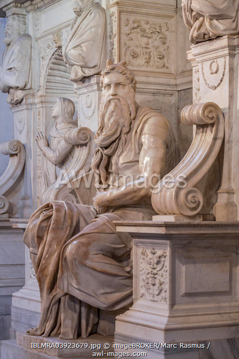 Moses, marble statue by Michelangelo, tomb of Pope Julius II, San Pietro in Vincoli, Rome, Lazio, Italy, Europe