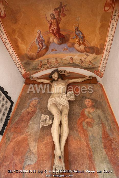 Crucifix and fresco in a chapel, parish church of Saint Jakob, Wallgau, Upper Bavaria, Bavaria, Germany, Europe