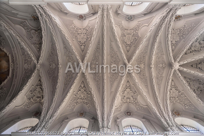 Stuccoed vaulted ceilling, St. Egidien, Nuremberg, Middle Franconia, Bavaria, Germany, Europe
