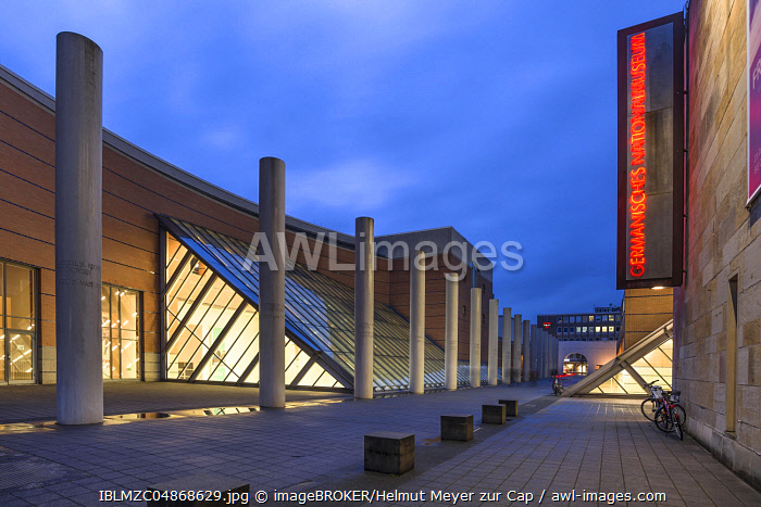 Germanic National Museum and Human Rights Road at dusk, Nuremberg, Middle Franconia, Bavaria, Germany, Europe