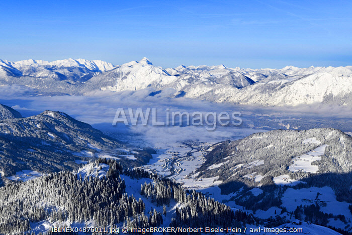 View from the Hohe Salve to Wörgl and the Inn Valley, Hopfgarten, Tyrol, Austria, Europe