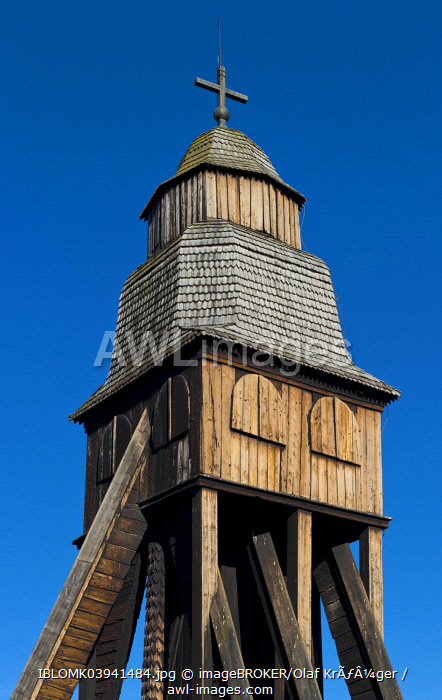 Bell tower of old wooden church of Djursdala, Smaland, Sweden, Europe