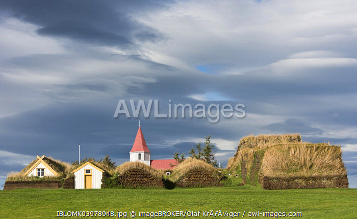 Church and sod houses, turf buildings, Glaumbaer Museum, Northwestern Region, Iceland, Europe