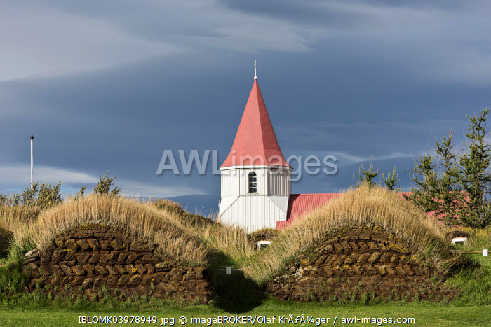 Church and sod houses, turf buildings, Glaumbaer or GlaumbÃÂ�r Museum, Northwestern Region, Iceland, Europe