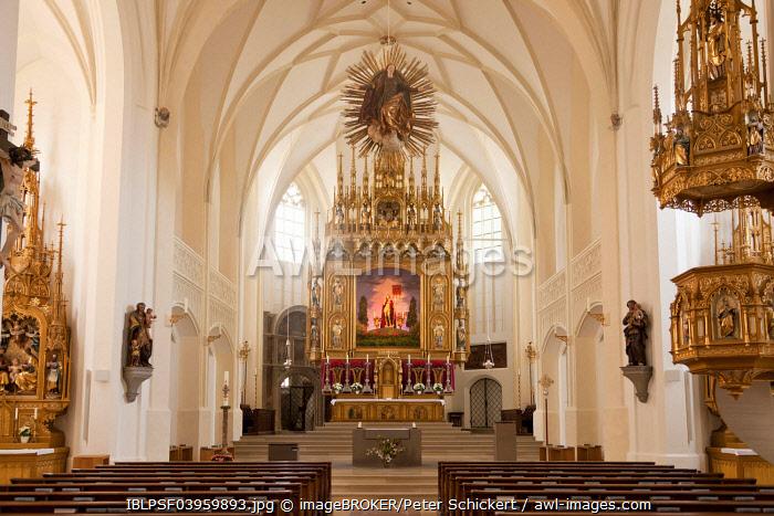 Interior with the altar, parish church of the Assumption, MariÃÂ� Himmelfahrt church, Bad Tolz, Bavaria Upper, Bavaria, Germany, Europe