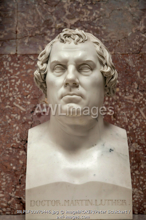 Marble bust of Martin Luther in the Walhalla memorial, in Donaustauf, Bavaria, Germany, Europe