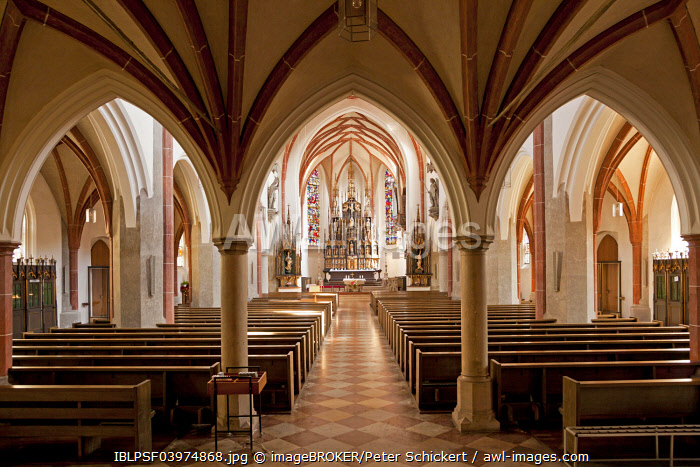 Interior of the parish church of St Jacob, Burghausen, Upper Bavaria, Bavaria, Germany, Europe