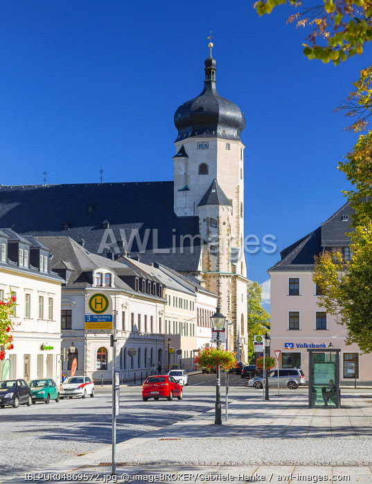 Market place with St.Marien city church in Marienberg, Ore Mountains, Saxony, Germany, Europe