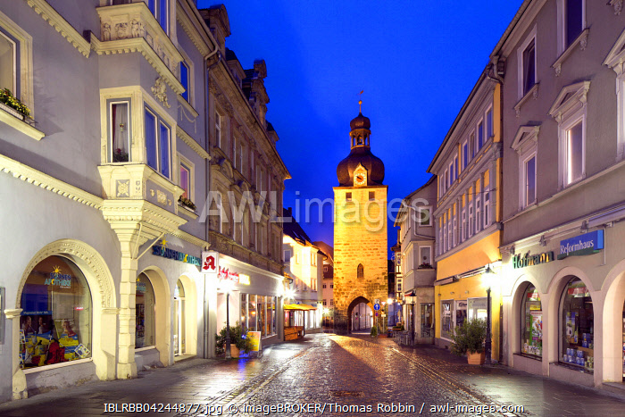 Jewish Tower, medieval tower and gate, at twilight, Coburg, Upper Franconia, Bavaria, Germany, Europe